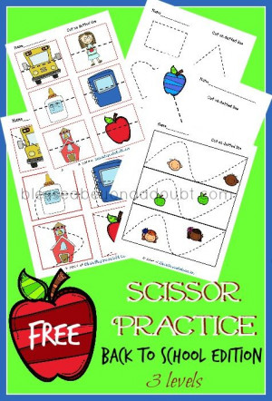 with these preschool scissor practice printables. She glued the pieces ...