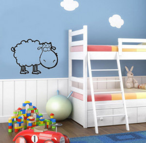 Sheep cute animal wall art decals quote house decoration living room ...