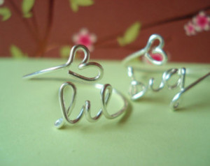 ... college rings...handmade wire big, little sisters with heart