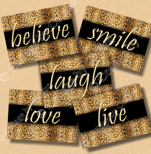Cheetah Leopard Print Wall Art Decor Girls Room Believe Live Love ...