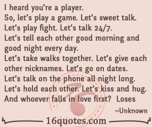 heard you're a player.