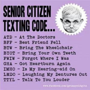 Aunty acid senior citizens texting code