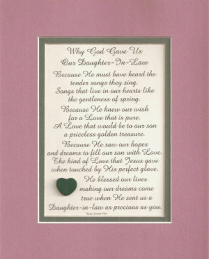 DAUGHTER IN LAW daughters verses poems plaques sayings