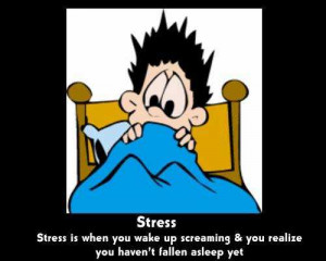 Stress is when you wake up screaming & you realize you haven't fallen ...
