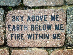 brick, earth, fire, nature, quote, sky