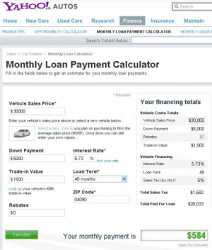yahoo! car loan calculator quotes,auto loan calculator