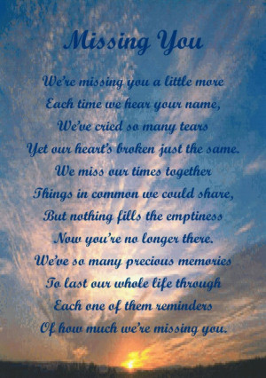 Missing You Poems in Heaven