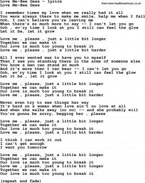 Love Song Lyrics For Bee Gees