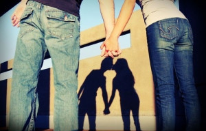 beautiful, couple, hold hand, kiss, love, lovely, shadow