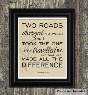 Travelled, Robert Frost Quote, Poetry Art Print, Inspirational Quote ...