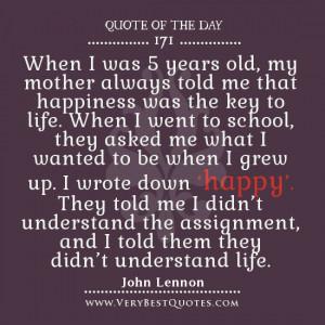 John Lennon Quote Happy School