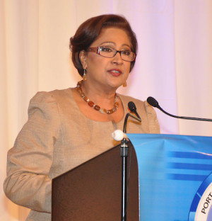 Prime Minister Kamla Persad-Bissessar in response to a reporter's ...