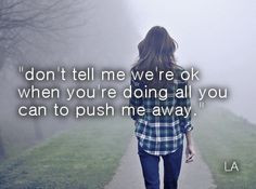 don't tell me we're ok when you're doing all you can to push me away ...