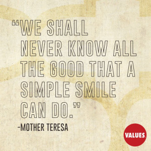 An inspirational quote by Mother Teresa.