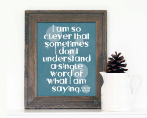 Funny Typography Poster Oscar Wilde Quote So Clever Sarcastic Digital ...