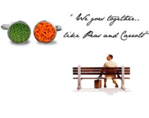 We Goes Together Like Peas and Carrots Cufflinks Round Glass Hand made ...