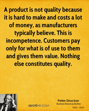 product is not quality because it is hard to make and cost a lot of ...