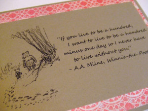... Hundred - Winnie the Pooh Quote - Classic Piglet and Pooh Note Card