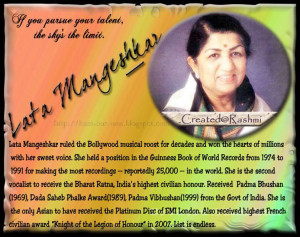 lata mangeshkar a brief biography Sahir ludhianvi is probably the only songwriter in hindi films whose poetry was accepted in its purest form and incorporated as a film song so great was his stature.