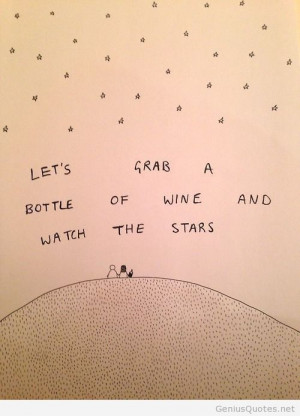 Couple wine and stars cute cartoon quote