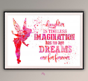 TinkerBell's quote from Peter Pan Movie, Disney Movie Watercolor art ...