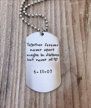 Custom dog tag hand stamped love quite gift for him military couple ...