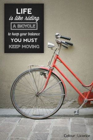 Life IS Like A Bicycle Inspirational Bike Quote Canvas Print Cycling ...