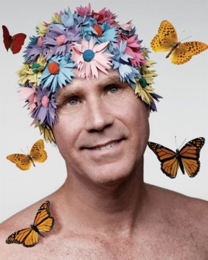 Will Ferrell In Flower Shower Cap