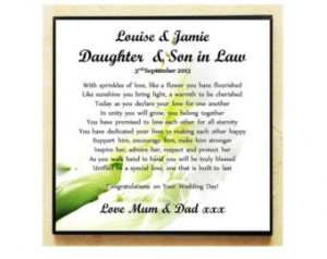 ... Plaque. Wedding Poem Gift. Daughter & Son in Law. Complete with Stand