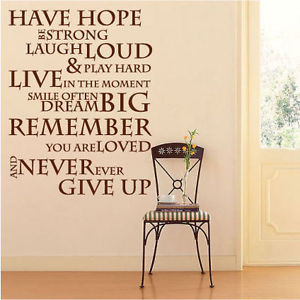 Have Hope Inspirational Wall Stickers Quotes, Wall Decals, Wall Art ...