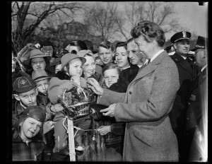 First Lady Eleanor Roosevelt welcomes of Easter Egg Rollers, March 25 ...