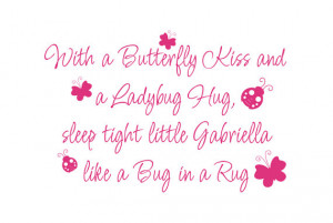 Girl Wall Decals Butterfly Kiss Ladybug Hug Vinyl Wall Decal Quote ...