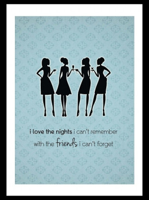 Vintage style shabby chic art print – cocktail party/friend quote ...