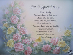 FOR A SPECIAL AUNT PERSONALIZED POEM BIRTHDAY GIFT