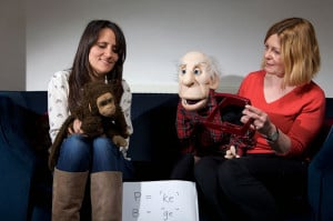 Nina Conti and Hester Lacey with the puppets Monkey and 'Harry'