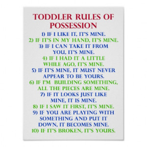 Toddler's Rules Of Possession Funny Poster Sign