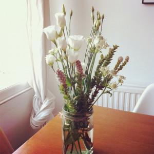 Spring flowers, French milk jug, twine