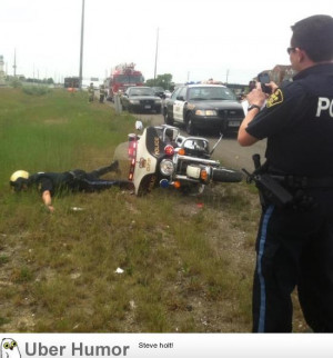 police officer finds out the hard way that motorcycles don't park ...