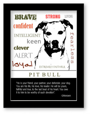 Pitbull Art, Pitbull Print, Subway Art, Quote, Modern Wall Decor ...