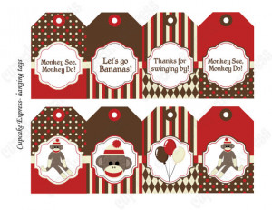 INSTAND DOWNLOAD diy Sock Monkey Birthday Printable Party Hanging Tags ...