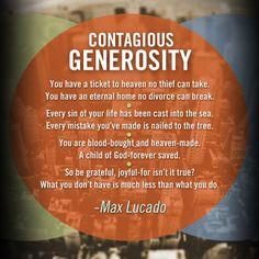 contagious generosity quote from max lucado more generosity quotes ...