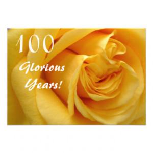 100th Birthday Celebration/DeepYellow Rose Invite