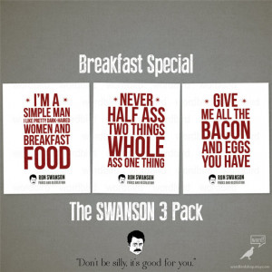 Ron Swanson Quotes, Motivational Wall Decor, Breakfast foods, bacon ...