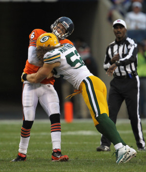 Clay Matthews and Jay Cutler - Green Bay Packers v Chicago Bears