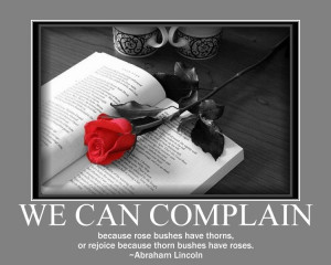 We can complain because rose bushes have thorns,