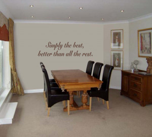 ... brown Simply The Best 2 (Tina Turner) Lyric decal in a dining room