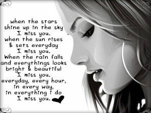 beautiful girl love missing u with quote
