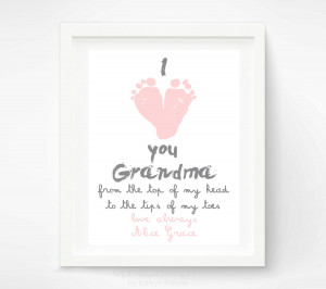 Mother's Day Gift for Grandma – I Love you Grandma Baby footprint ...