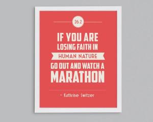 26.2 Kathrine Switzer Retro Print - Typographic Inspirational Running ...