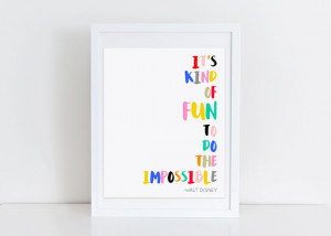 Disney Quote Print Inspirational Artwork Colorful Nursery Wall Gallery ...